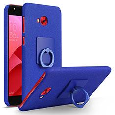 Custodia Plastica Rigida Sabbie Mobili con Anello Supporto per Asus Zenfone 4 Selfie Pro Blu