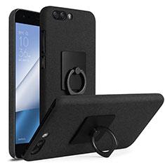 Custodia Plastica Rigida Sabbie Mobili con Anello Supporto per Asus Zenfone 4 ZE554KL Nero