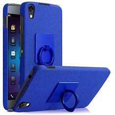 Custodia Plastica Rigida Sabbie Mobili con Anello Supporto per Blackberry DTEK50 Blu