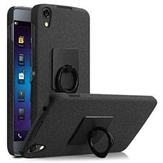 Custodia Plastica Rigida Sabbie Mobili con Anello Supporto per Blackberry DTEK50 Nero