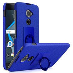 Custodia Plastica Rigida Sabbie Mobili con Anello Supporto per Blackberry DTEK60 Blu