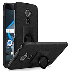 Custodia Plastica Rigida Sabbie Mobili con Anello Supporto per Blackberry DTEK60 Nero