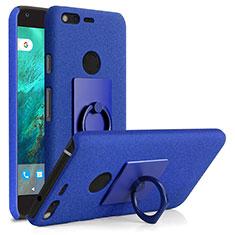 Custodia Plastica Rigida Sabbie Mobili con Anello Supporto per Google Pixel XL Blu