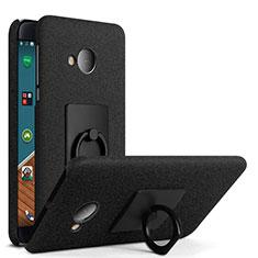 Custodia Plastica Rigida Sabbie Mobili con Anello Supporto per HTC U Play Nero