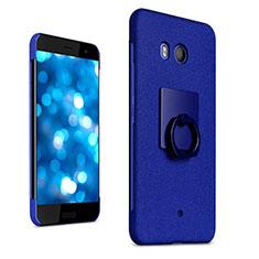 Custodia Plastica Rigida Sabbie Mobili con Anello Supporto per HTC U11 Blu