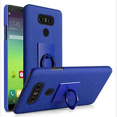 Custodia Plastica Rigida Sabbie Mobili con Anello Supporto per LG G6 Blu