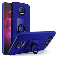 Custodia Plastica Rigida Sabbie Mobili con Anello Supporto per Motorola Moto Z Play Blu
