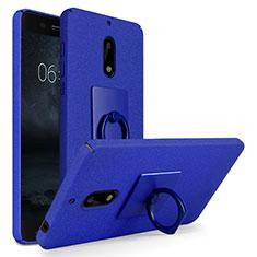 Custodia Plastica Rigida Sabbie Mobili con Anello Supporto per Nokia 6 Blu