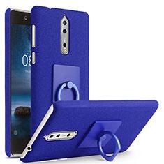Custodia Plastica Rigida Sabbie Mobili con Anello Supporto per Nokia 8 Blu