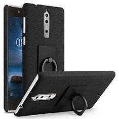 Custodia Plastica Rigida Sabbie Mobili con Anello Supporto per Nokia 8 Nero