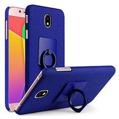 Custodia Plastica Rigida Sabbie Mobili con Anello Supporto per Samsung Galaxy J7 (2017) Duos J730F Blu