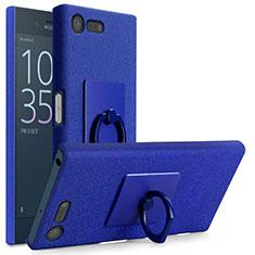 Custodia Plastica Rigida Sabbie Mobili con Anello Supporto per Sony Xperia X Compact Blu