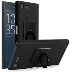 Custodia Plastica Rigida Sabbie Mobili con Anello Supporto per Sony Xperia X Compact Nero