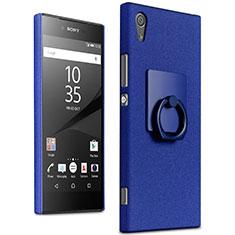 Custodia Plastica Rigida Sabbie Mobili con Anello Supporto per Sony Xperia XA1 Ultra Blu