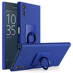 Custodia Plastica Rigida Sabbie Mobili con Anello Supporto per Sony Xperia XZ Blu