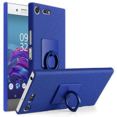 Custodia Plastica Rigida Sabbie Mobili con Anello Supporto per Sony Xperia XZ Premium Blu
