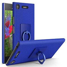 Custodia Plastica Rigida Sabbie Mobili con Anello Supporto per Sony Xperia XZ1 Blu