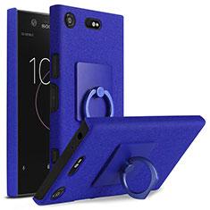 Custodia Plastica Rigida Sabbie Mobili con Anello Supporto per Sony Xperia XZ1 Compact Blu