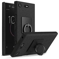 Custodia Plastica Rigida Sabbie Mobili con Anello Supporto per Sony Xperia XZ1 Compact Nero