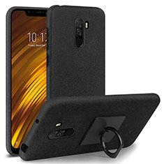 Custodia Plastica Rigida Sabbie Mobili con Anello Supporto per Xiaomi Pocophone F1 Nero