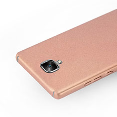 Custodia Plastica Rigida Sabbie Mobili per OnePlus 3 Oro Rosa