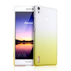 Custodia Plastica Trasparente Rigida Sfumato per Huawei Ascend P7 Giallo