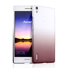 Custodia Plastica Trasparente Rigida Sfumato per Huawei Ascend P7 Marrone