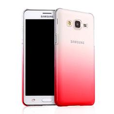 Custodia Plastica Trasparente Rigida Sfumato per Samsung Galaxy On5 Pro Rosso