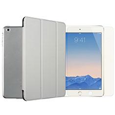 Custodia Portafoglio In Pelle con Pellicola in Vetro Temperato Protettiva per Apple iPad Mini Argento