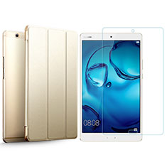 Custodia Portafoglio In Pelle con Pellicola in Vetro Temperato Protettiva per Huawei MediaPad M3 Oro