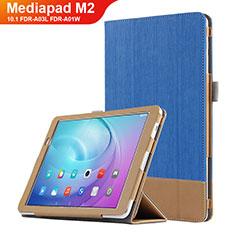 Custodia Portafoglio In Pelle con Stand L01 per Huawei MediaPad M2 10.1 FDR-A03L FDR-A01W Blu