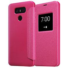 Custodia Portafoglio In Pelle con Stand L01 per LG G6 Rosso