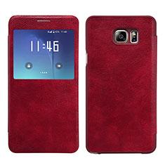 Custodia Portafoglio In Pelle con Stand L01 per Samsung Galaxy Note 5 N9200 N920 N920F Rosso