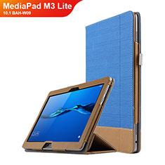 Custodia Portafoglio In Pelle con Stand L02 per Huawei MediaPad M3 Lite 10.1 BAH-W09 Blu