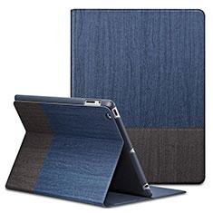 Custodia Portafoglio In Pelle con Stand L03 per Apple iPad 2 Blu