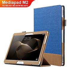 Custodia Portafoglio In Pelle con Stand L03 per Huawei MediaPad M2 10.0 M2-A01 M2-A01W M2-A01L Blu