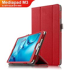 Custodia Portafoglio In Pelle con Stand L03 per Huawei Mediapad M3 8.4 BTV-DL09 BTV-W09 Rosso