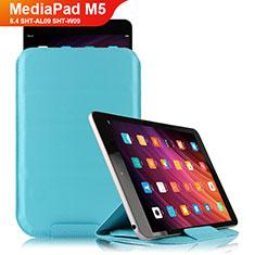 Custodia Portafoglio In Pelle con Stand L06 per Huawei MediaPad M5 8.4 SHT-AL09 SHT-W09 Cielo Blu