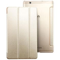 Custodia Portafoglio In Pelle con Stand per Huawei MediaPad M3 Oro
