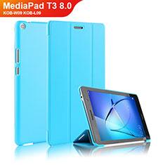 Custodia Portafoglio In Pelle con Stand per Huawei MediaPad T3 8.0 KOB-W09 KOB-L09 Cielo Blu