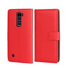 Custodia Portafoglio In Pelle con Stand per LG K7 Rosso