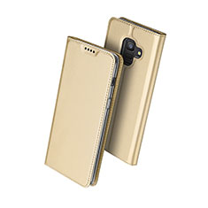 Custodia Portafoglio In Pelle con Stand per Samsung Galaxy A6 (2018) Oro