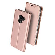 Custodia Portafoglio In Pelle con Stand per Samsung Galaxy A8 (2018) A530F Oro Rosa