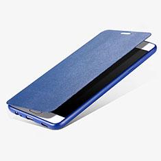 Custodia Portafoglio In Pelle con Stand per Samsung Galaxy C7 Pro C7010 Blu