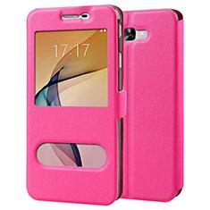 Custodia Portafoglio In Pelle con Stand per Samsung Galaxy J7 Prime Rosa Caldo