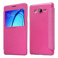 Custodia Portafoglio In Pelle con Stand per Samsung Galaxy On5 G550FY Rosa Caldo