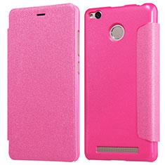 Custodia Portafoglio In Pelle con Stand per Xiaomi Redmi 3 Pro Rosa Caldo
