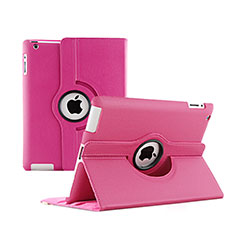 Custodia Portafoglio In Pelle con Stand Rotazione per Apple iPad 2 Rosa Caldo