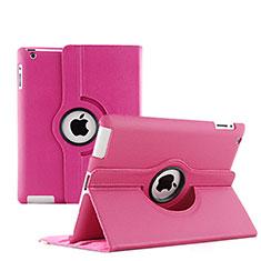Custodia Portafoglio In Pelle con Stand Rotazione per Apple iPad 4 Rosa Caldo