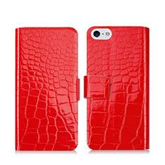 Custodia Portafoglio In Pelle con Supporto Coccodrillo per Apple iPhone 5 Rosso